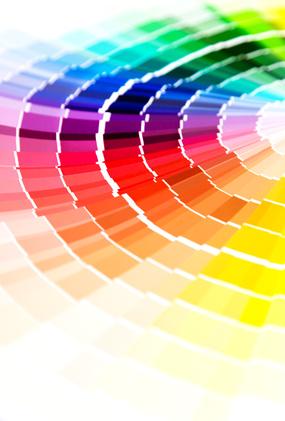 nuancier de couleur, outils de travail de la décoratrice