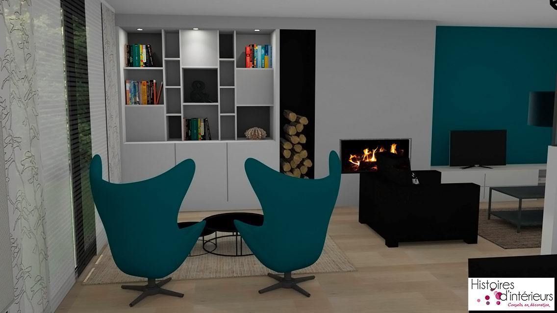 R novation compl te d 39 un salon salon s jour combrit for Simulation 3d salon